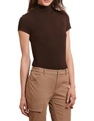 Lauren Ralph Lauren Petite Jersey Short Sleeve Turtleneck Chocolate