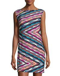 Trina Turk Abstract Print Boat Neck Shift Dress Multi