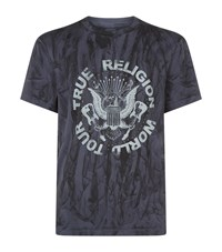 True Religion Studded Eagle Crest T Shirt Male Blue