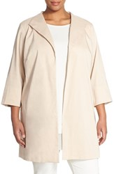 Plus Size Women's Eileen Fisher High Collar Coat Buttercream