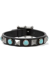 Valentino The Rockstud Rolling Embellished Leather Bracelet Black Blue