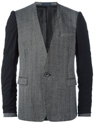 Lanvin Inside Out Collarless Blazer Grey