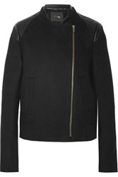 Maje Genkia Leather Paneled Wool And Cashmere Blend Biker Jacket Black