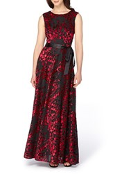 Tahari Women's Burnout Velvet Gown