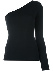 Theory One Shoulder Long Sleeve Top Black