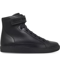 Armani Jeans Perforated Leather High Top Trainers Black