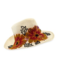 Etro Floral Embroidered Straw Canvas Hat