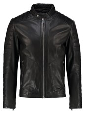 Reiss Native Leather Jacket Black