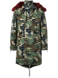 Off White Camouflage Parka Green
