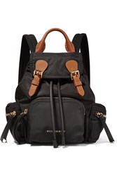 Burberry Small Leather Trimmed Gabardine Backpack Black