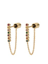 Ileana Makri Rainbow Stone And Yellow Gold Earrings Yellow Gold