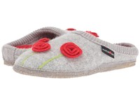 Haflinger Poppy Silver Grey Red Women's Slippers White