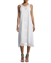 Nanette Lepore Sleeveless Lace A Line Midi Dress Ivory