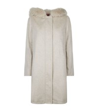 Max Mara Maxmara Zuai Fur Trimmed Hooded Cashmere Parka Female Neutral