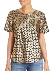 Equipment Riley Metallic Flower Tee Black Gold