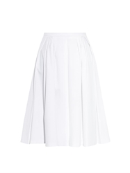 Red Valentino Full Pleated Cotton Gabardine Skirt