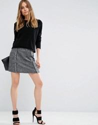 Asos Textured Skirt With Fringe Detail Black White