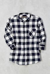 Wolf And Man Twitch 3 4 Sleeve Button Down Shirt Navy