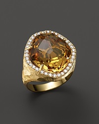 Vianna Brasil 18K Yellow Gold Ring With Citrine And Diamond Accents