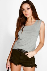 Boohoo Key Hole Detail Strap Vest Grey