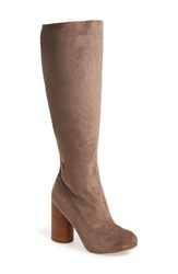 Women's Jeffrey Campbell 'Sequel Hi' Tall Boot Taupe Stretch Suede