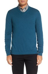 Ted Baker Men's Big And Tall London V Neck Sweater Teal