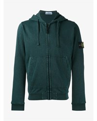 Stone Island Cotton Zip Hoodie Green Teal Stone Black