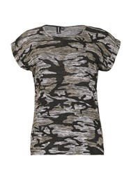 Izabel London Camouflage Print Marl Knit T Shirt Multi Coloured