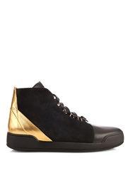 Balmain Bony Suede And Leather High Top Trainers