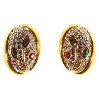 Alice Joseph Vintage 1980S Gold Toned Oval Diamante Clip On Earrings Gold Multi