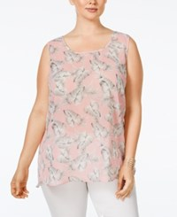 Ing Plus Size Floral Print Woven Top Soft Pink
