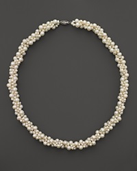 Bloomingdale's Cultured Freshwater Pearl Woven Necklace In 14K White Gold 18