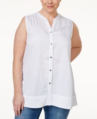 Styleandco. Style And Co. Plus Size Sleeveless Button Down Blouse Only At Macy's Bright White