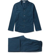 Derek Rose Braemar Checked Cotton Pyjama Set Blue