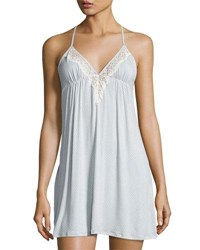 Underella By Ella Moss Colette Polka Dot Lace Trimmed Chemise Gray Pattern