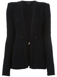 Balmain Tie Fastened Quilted Cardigan Black