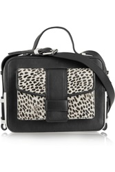 Sandro Alexa Cheetah Print Calf Hair And Leather Shoulder Bag Black