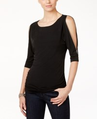 Inc International Concepts Cold Shoulder Zipper Top Only At Macy's Deep Black