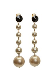 Marni Faux Pearl Sphere Pendant Drop Earrings Black