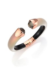 Alexis Bittar Lakana Lucite Tiger's Eye Pyrite And Crystal Crocodile Textured Cuff Bracelet Rose Gold