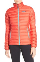 Patagonia Women's Packable Down Sweater Jacket French Red Mogul Blue