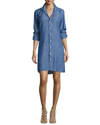 Frank And Eileen Murphy Chambray Shirtdress Navy