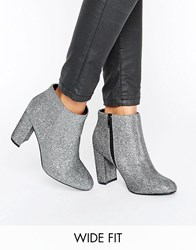New Look Wide Fit Sparkly Block Heeled Boot Metal Silver