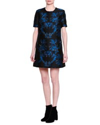 Stella Mccartney Jewel Embellished Short Sleeve Brocade Dress Black Blue