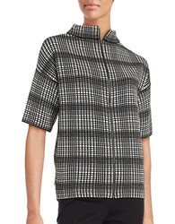 French Connection Gina Plaid Collared Short Sleeve Sweater Black Brulee