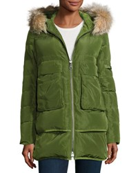 Annabelle New York Barrow Fur Trim Linear Quilted Coat Green Silver