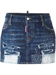 Dsquared2 Distressed Stitching Mini Skirt Blue