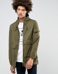 Bellfield Two Way Zip Parka With Drawstring Hood Khaki Green