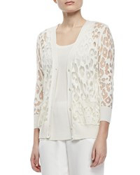 Magaschoni Burn Leopard Pattern Cardigan With Pockets Women's