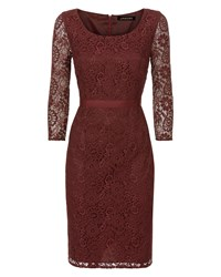 Jaeger All Over Lace Dress Red